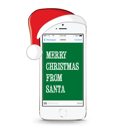 A mobile phone with a red Santa hat on showing an idea for the text message from Santa